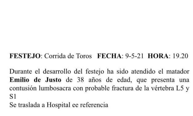 Contusión lumbosacra y probable vertebras fracturadas