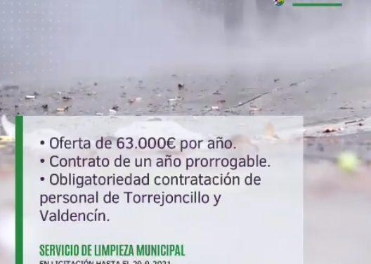 Licitación del Servicio de Limpieza Viaria de Torrejoncillo y Valdencín