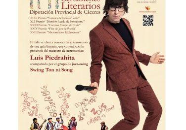 La Gala de los certámenes literarios y periodístico de la Diputación de Cáceres vuelve a celebrarse presencialmente con Luis Piedrahita como maestro de ceremonia