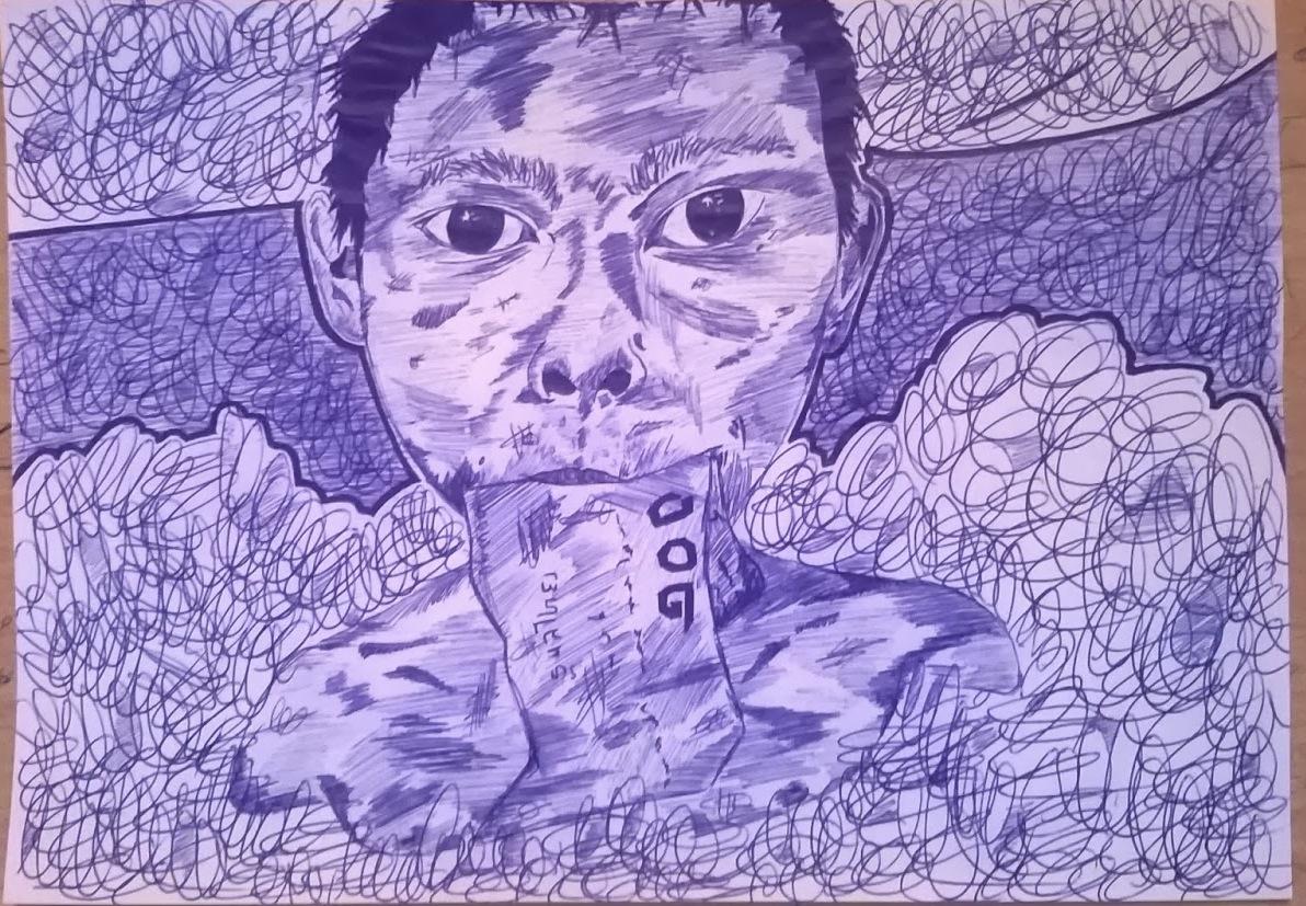 Pintura a bolígrafo de Julián Cabello Vergel