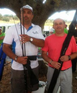 Cesar Moreno y Fernando Cordero ganadores del Concurso de parejas y Arturo Cordón el infantil de Pesca Los Encinares