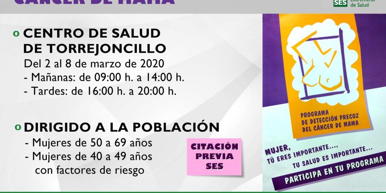 PROGRAMA DE DETECCIÓN PRECOZ DE CÁNCER DE MAMA EN TORREJONCILLO