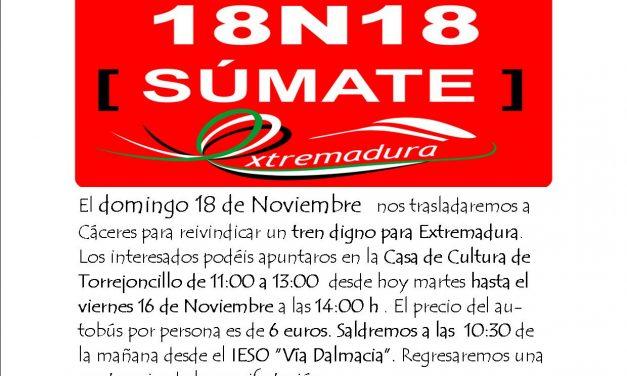 Manifestación Tren Digno Cáceres 18N