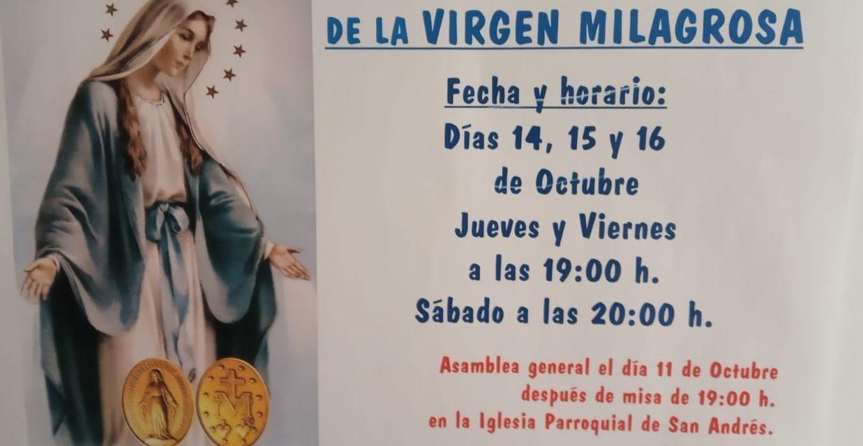 Solemne Triduo en honor de la Virgen Milagrosa