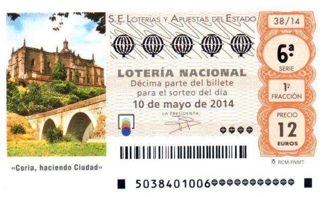 La Catedral y el puente medieval de Coria ilustrarán el décimo de Lotería Nacional del 10 de mayo