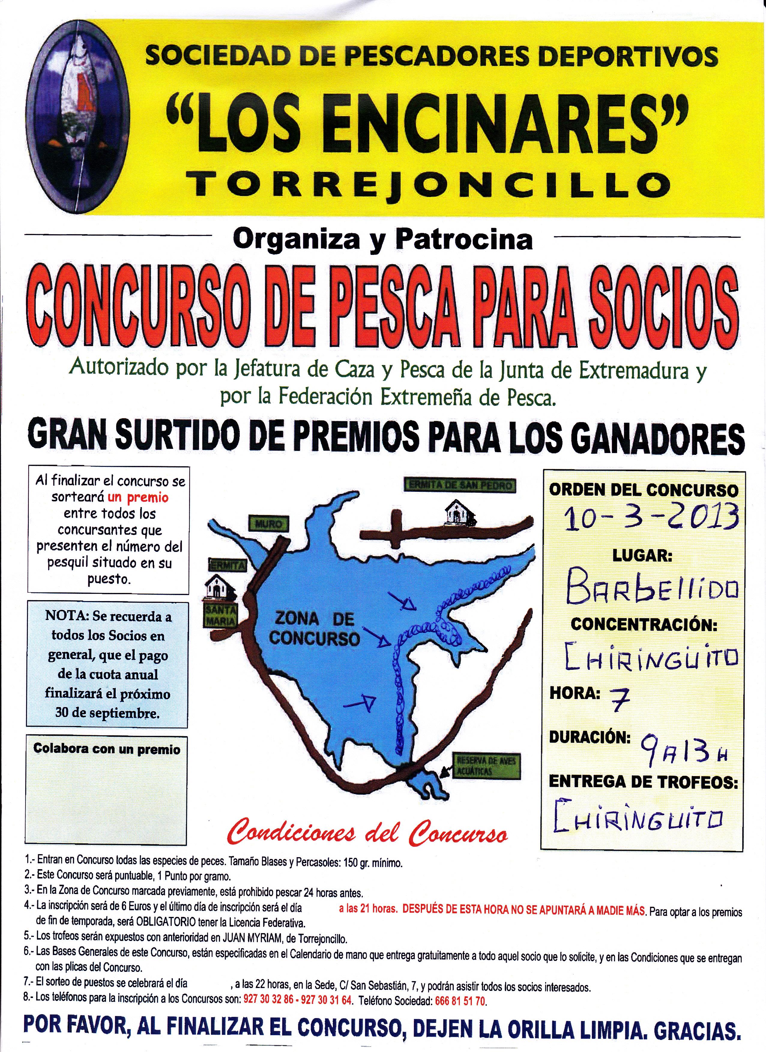 Primer concurso de pesca, temporada 2013, de la Sociedad Deportiva «Los Encinares»