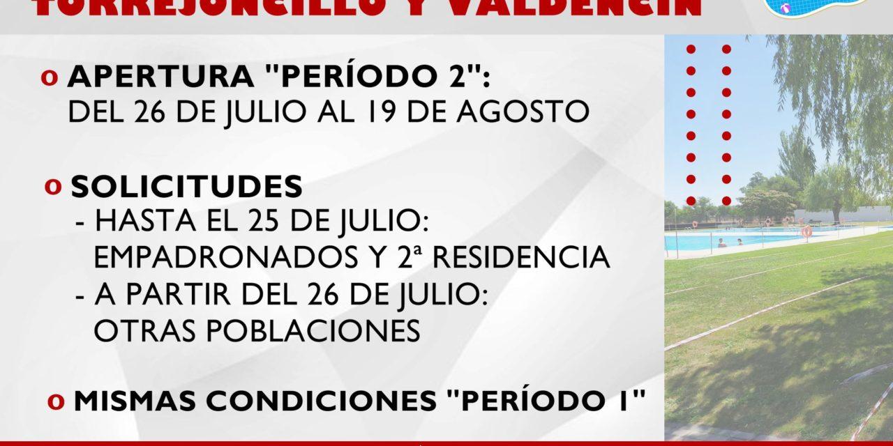 SEGUNDO PERÍODO DE APERTURA DE LAS PISCINAS MUNICIPALES DE TORREJONCILLO Y VALDENCÍN