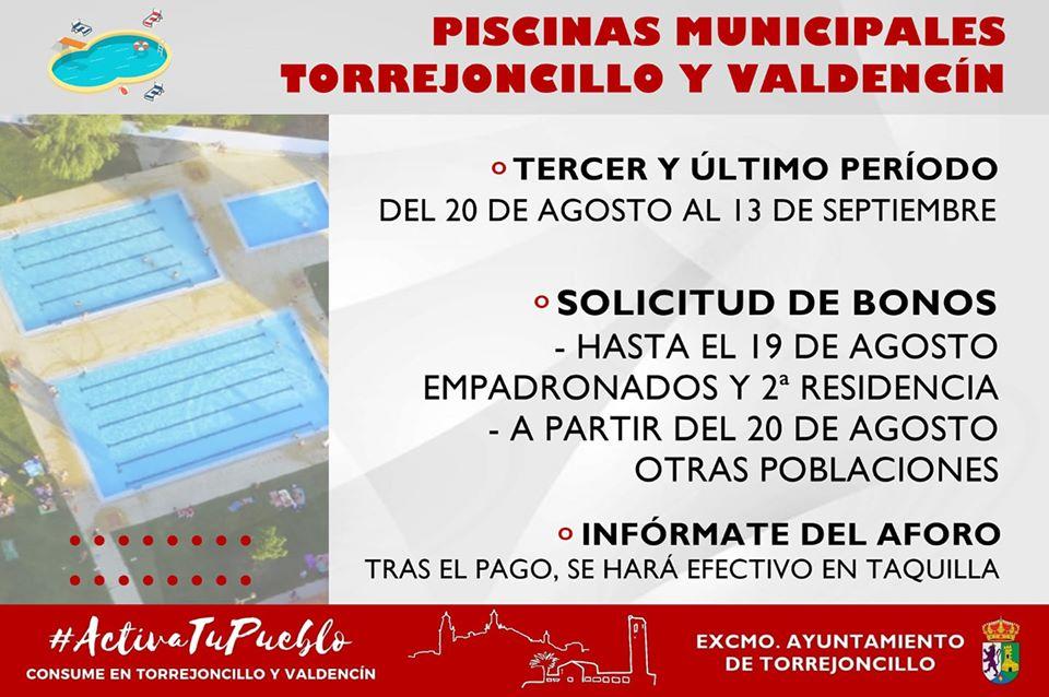 TERCER PERÍODO DE APERTURA DE LAS PISCINAS MUNICIPALES DE TORREJONCILLO Y VALDENCÍN