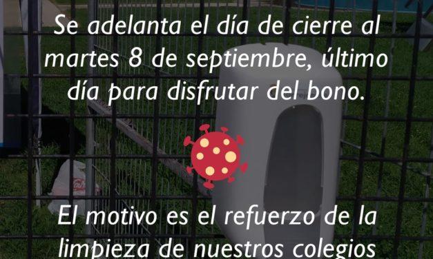 SE ADELANTA EL CIERRE DE NUESTRAS PISCINAS MUNICIPALES