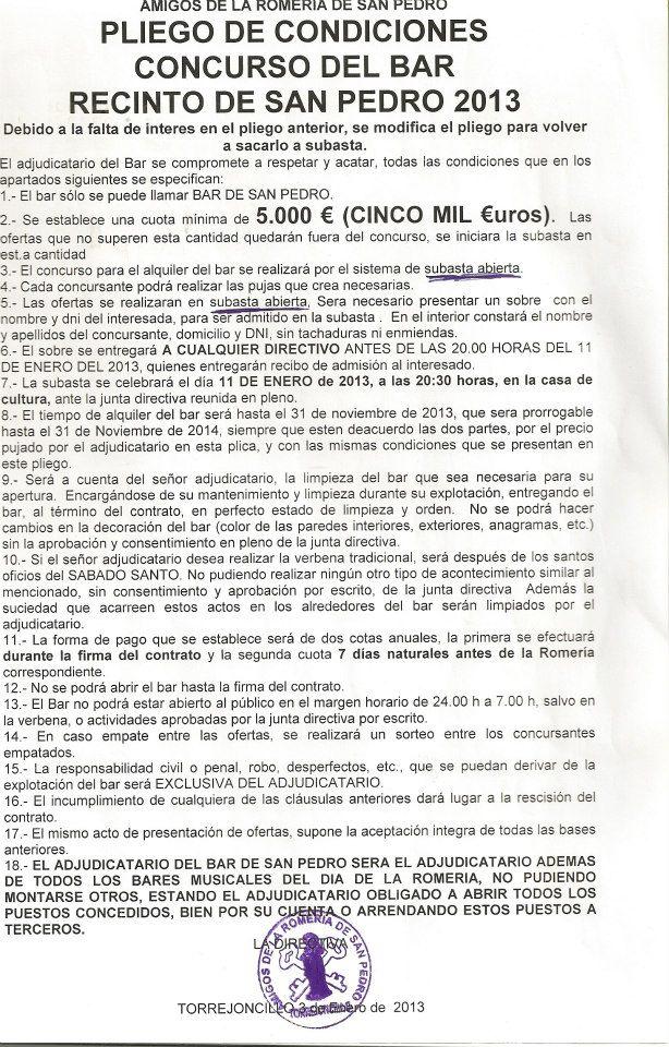 Pliego de Condiciones Bar de San Pedro 2013