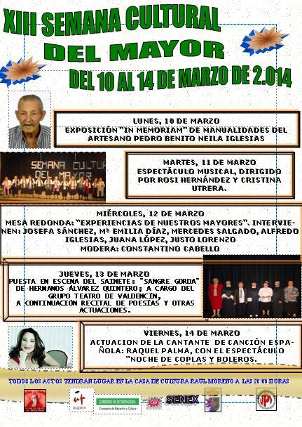 Programa de la XIII Semana Cultural del Mayor