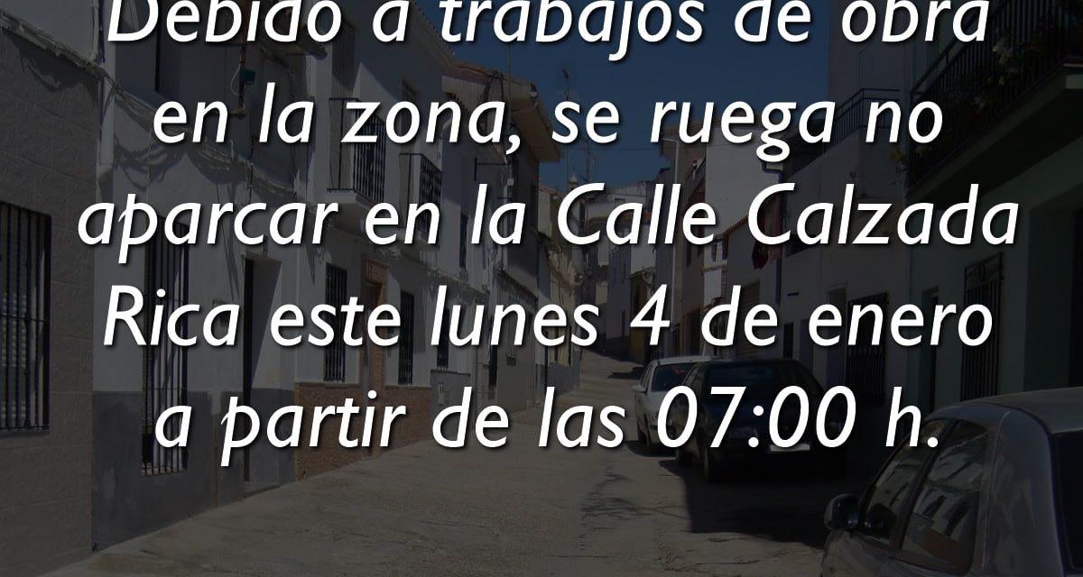 PROHIBIDO APARCAR ESTE LUNES EN LA CALLE CALZADA RICA