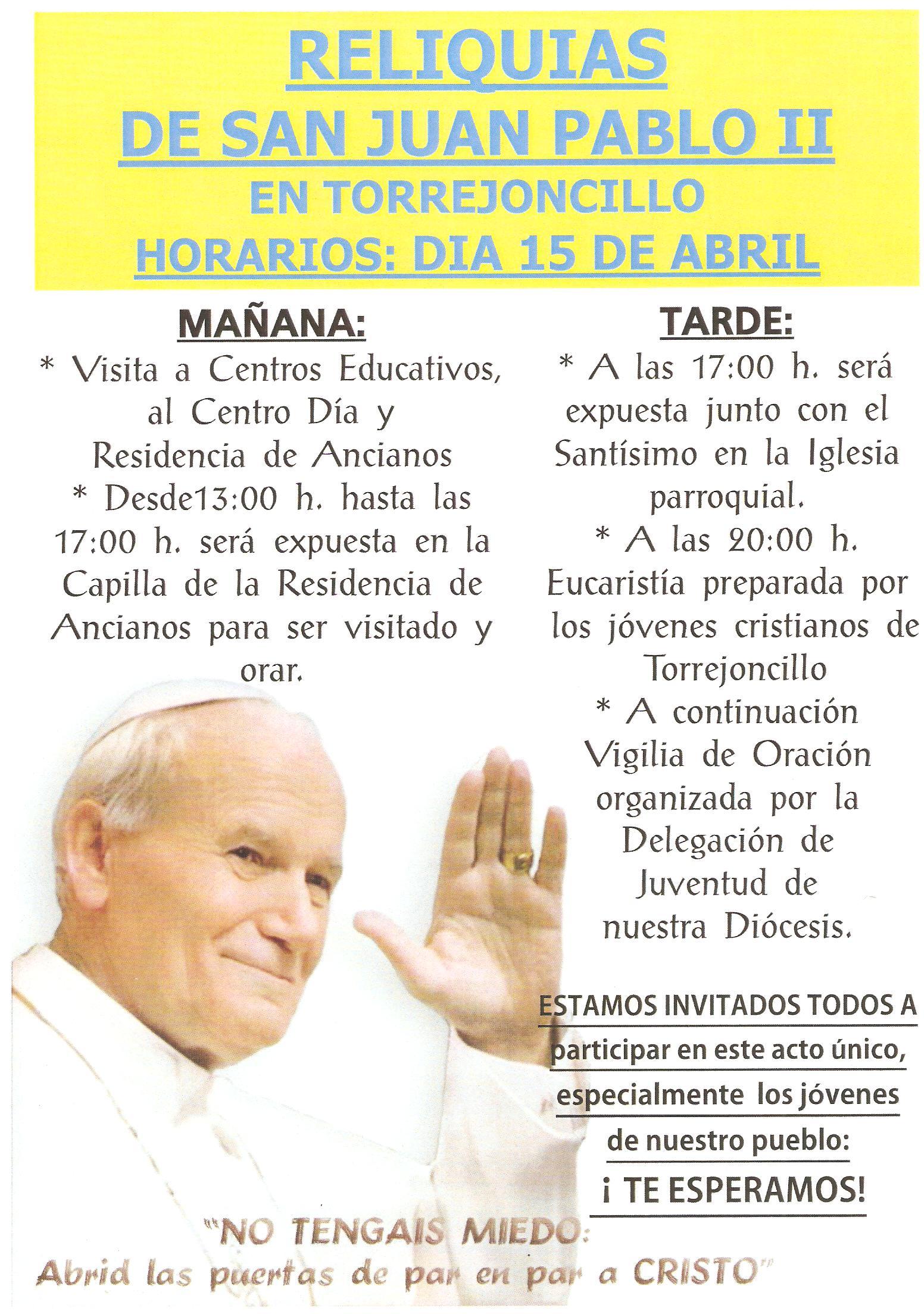 Las Reliquias de San Juan Pablo II, en Torrejoncillo