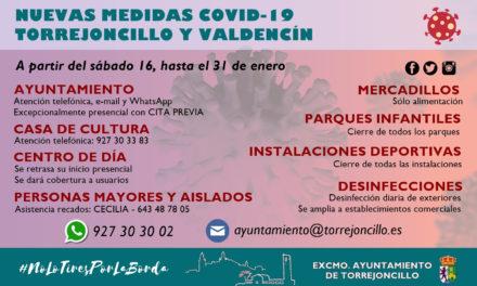 NUEVAS MEDIDAS COVID-19 EN TORREJONCILLO Y VALDENCÍN