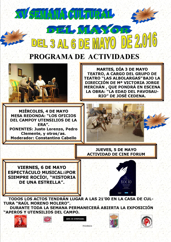 XV Semana Cultural del Mayor. Del 3 al 6 de Mayo