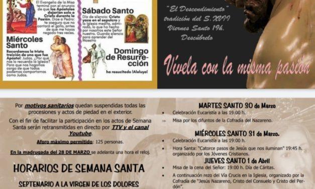 Cultos litúrgicos Semana Santa 2021