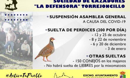 INFORMACIÓN DE LA SOCIEDAD DE CAZADORES «LA DEFENSORA» DE TORREJONCILLO