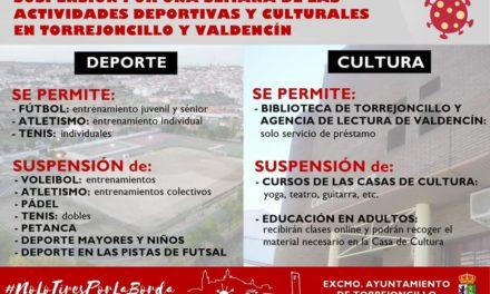 SUSPENSIÓN DE LAS ACTIVIDADES DEPORTIVAS Y CULTURALES EN TORREJONCILLO Y VALDENCÍN