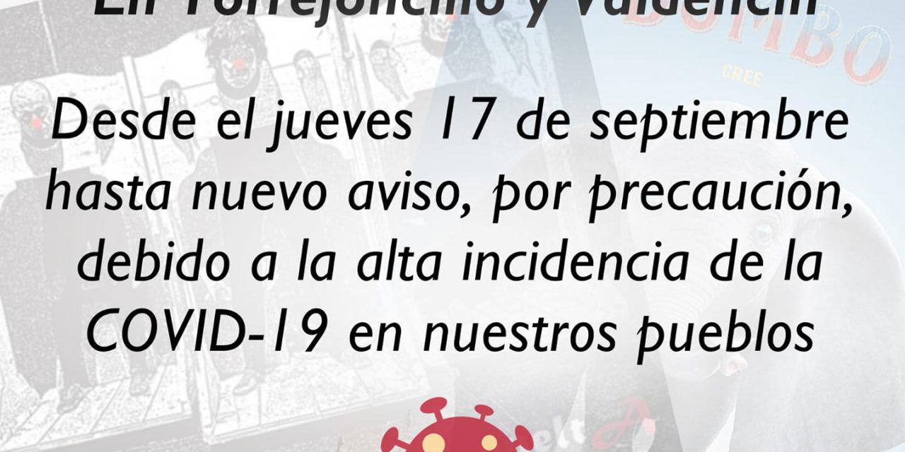 APLAZADOS TODOS LOS EVENTOS CULTURALES EN TORREJONCILLO Y VALDENCÍN