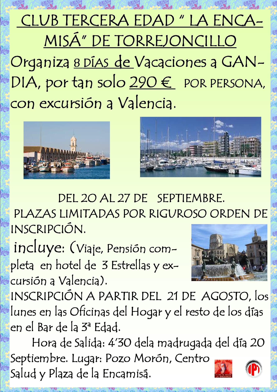 Club La Tercera Edad. organiza vacaciones a Gandia