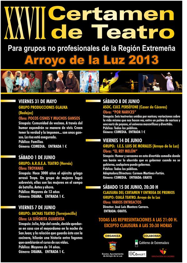 Cartel oficial del XXVII Certamen de Teatro de Arroyo de La Luz - CEDIDA