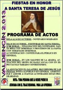 cartel fiestas Santa Teresa de Jesús 2013