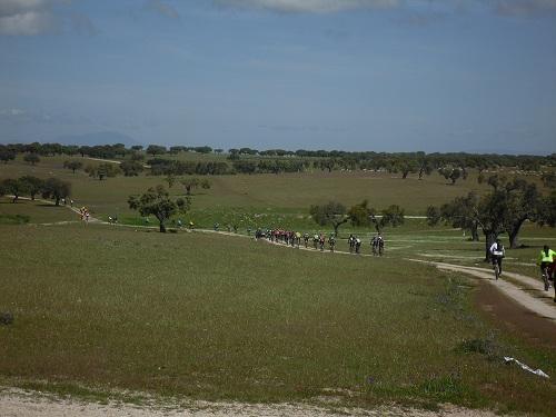 Los bicicleteros recorrieron el pasado sábado la dehesa extremeña - ADESVAL