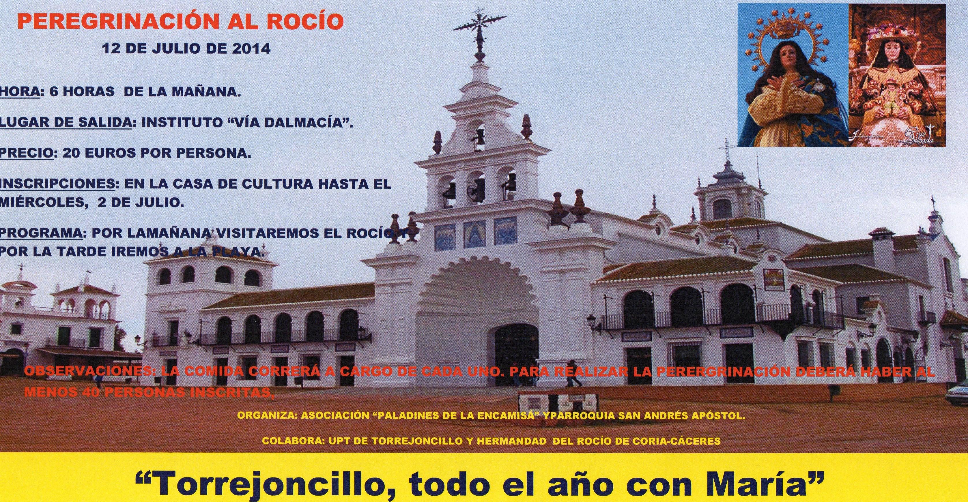 La asociación de Paladines de la Encamisá organiza una peregrinación al Rocío, el 12 de Julio de 2014.
