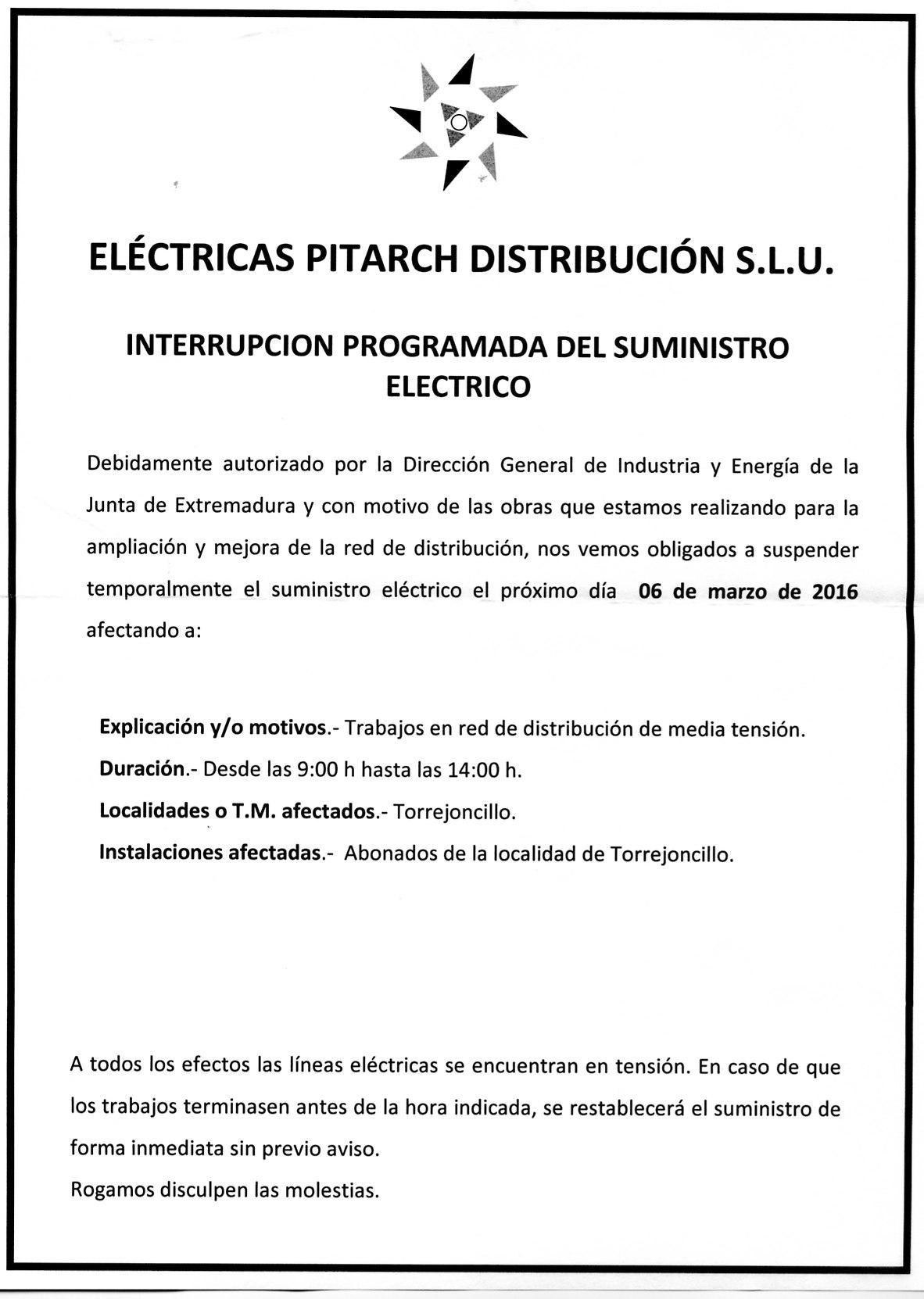 Interrupción programa de suministro eléctricas Pitarch