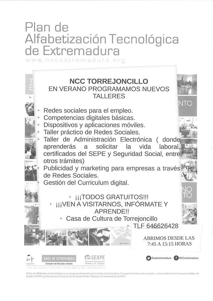 Nuevos talleres para el verano del NCC de Torrejoncillo