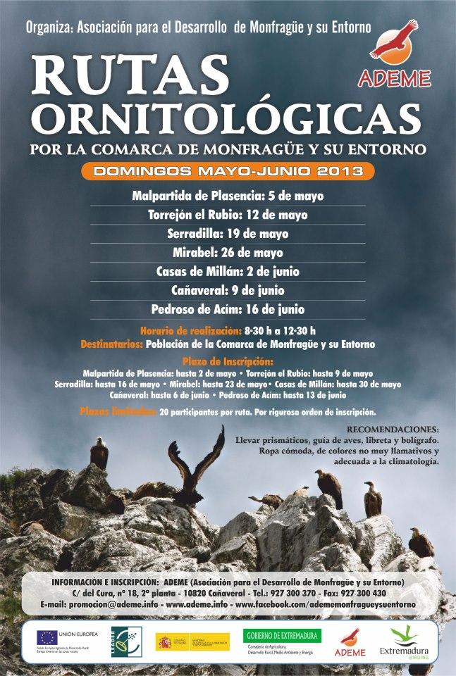 La ADEME organiza rutas ornitológicas por la comarca de Monfragüe y su entorno