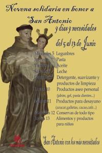 """Cartel del Novenario en honor a San Antonio """"Nueve días, nueve necesidades"""" - CÁRITAS"""