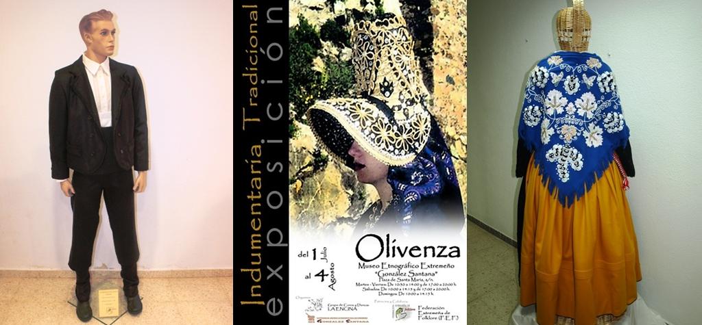 Los trajes de pañero (izquierda) y de mujer con pañuelo del gajo (derecha) de Torrejoncillo, son expuestos en Olivenza - FEDERACIÓN EXTREMEÑA FOLKLORE